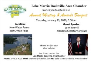 Dadeville  Chamber Annual Meeting and Awards Banquet @ New Water Farms