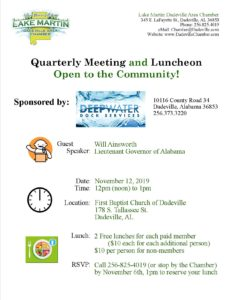 Quarterly Luncheon @ First Baptist Church of Dadeville