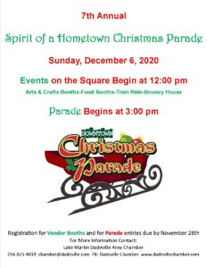 Dadeville's 7th Annual Spirit of a Hometown Christmas Parade @ Downtown Dadeville