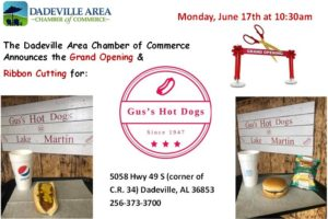Grand Opening & Ribbon Cutting: Gus's Hot Dogs at Lake Martin @ Gus's Hot Dogs at Lake Martin