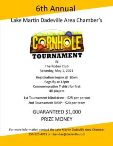 6th Annual Cornhole Tournament @ Lake Martin Event Center at the Rodeo Club