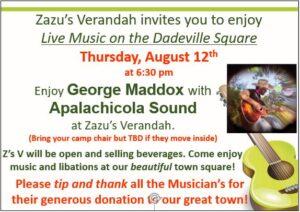 Live Music - George Maddox with Apalachicola Sound @ Zazu's Verandah