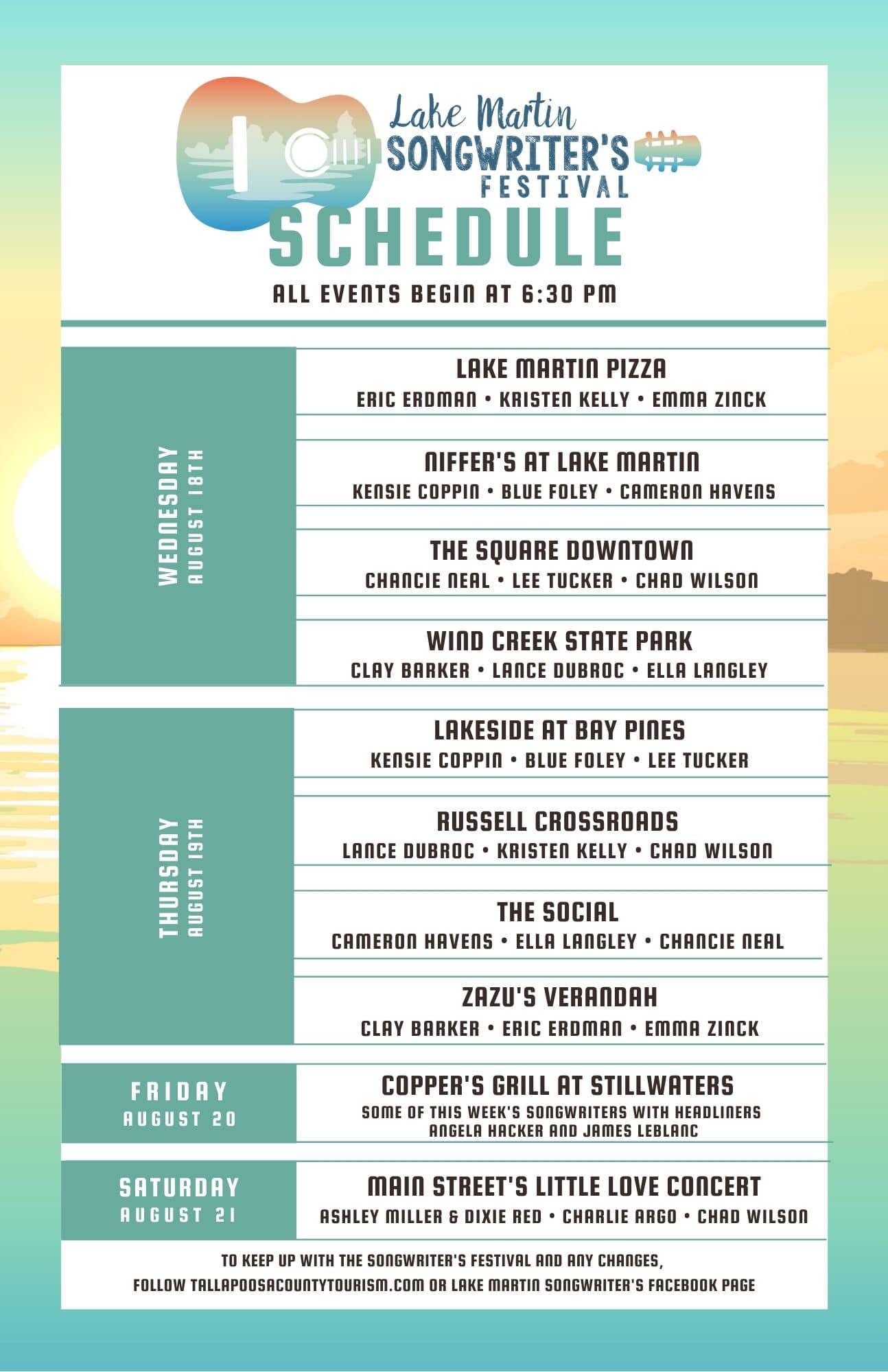 Lake Martin Songwriter's Festival @ Lake Martin Pizza Co.