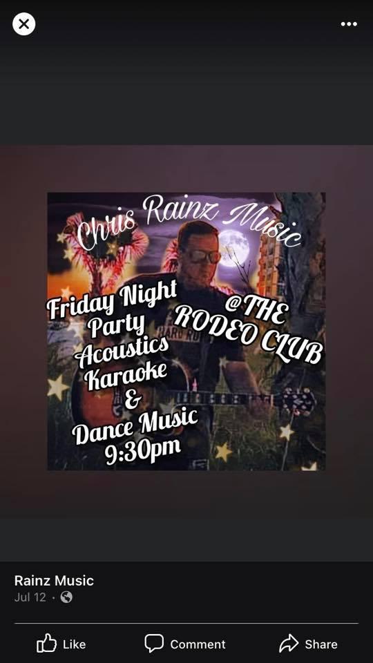 Live Music - Chris Rainz Music, Acoustics, Karaoke & Dance Music @ the Rodeo Club